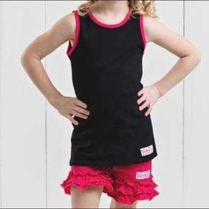 Ruffle Girl Matching Sets - Ruffle Girl Black Tank & Pink Ruffle Short Set